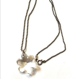 Crystal Snowflake Necklace Sterling Silver 925